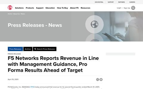 Screenshot of Press Page f5.com - F5 Networks Reports Revenue in Line with Management Guidance, Pro Forma Results Ahead of Target - captured March 8, 2018