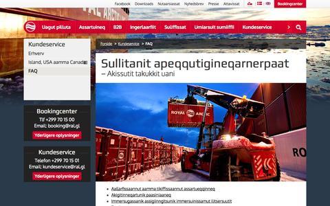 Screenshot of FAQ Page ral.gl - FAQ - Royal Arctic Line - captured Nov. 5, 2014