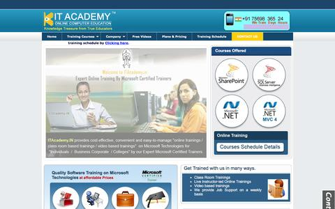 Screenshot of Home Page itacademy.in - MVC,MVC 4,MVC 4.0,AngularJS,NodeJS,KnockoutJS,BackboneJS,MVVM,PRISM,WCF,JQUERY,DOTNET,NET & SharePoint 2013,SharePoint 2010,MSBI 2012, MSBI 2008 online training institute in Hyderabad, India - captured Feb. 2, 2016
