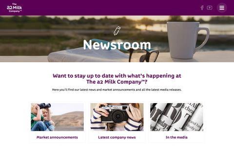 Screenshot of Press Page thea2milkcompany.com - Newsroom - The a2 Milk Company - captured Nov. 19, 2016