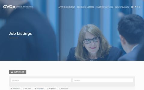 Screenshot of Jobs Page cvca.ca - Jobs – Canadian Venture Capital & Private Equity Association - captured Sept. 20, 2018