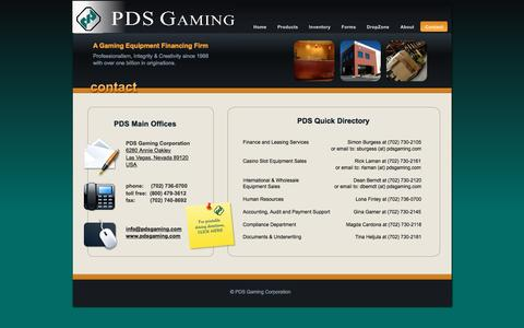 Screenshot of Contact Page pdsgaming.com - PDS - Contact - captured Jan. 24, 2016