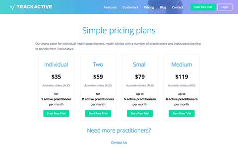 Screenshot of Pricing Page trackactive.co - Pricing plans - TrackActive - captured Nov. 14, 2019