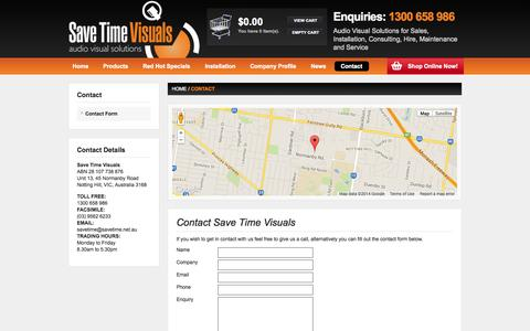Screenshot of Contact Page savetimevisuals.com.au - Contact - Save Time Visuals - captured Oct. 4, 2014
