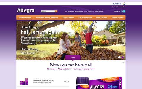 Screenshot of Home Page allegra.com - 24-Hour Relief From Indoor and Outdoor Allergies   Allegra - captured Sept. 22, 2014