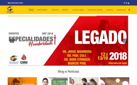 Screenshot of Home Page udf.org.br - Universidade da Família - Lutando pelas Famílias - captured Sept. 24, 2018