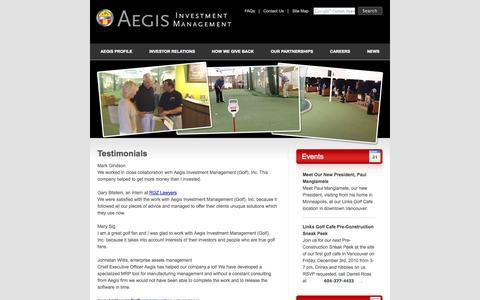 Screenshot of Testimonials Page aegisinvestmentmanagement.com - Aegis Investment Management - captured Sept. 30, 2014