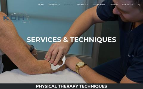 Screenshot of Services Page kohpt.com - Services - KOH Physical Therapy Lab - Irvine, CA - captured Oct. 16, 2018