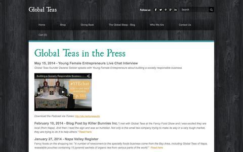 Screenshot of Press Page globalteas.org - Press - Global Teas - captured Sept. 30, 2014