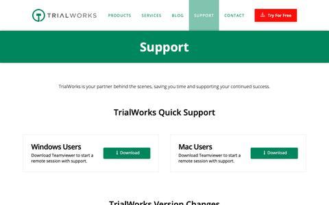 Screenshot of Support Page trialworks.com - Support - Case Management Software - TrialWorks - captured Sept. 27, 2018