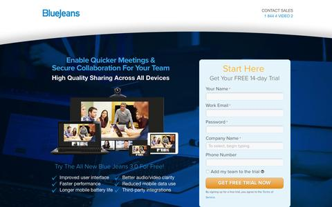 Screenshot of Trial Page bluejeans.com - Free 14-day Trial - Cloud-based Video Conferencing Service | Blue Jeans - captured Jan. 6, 2016