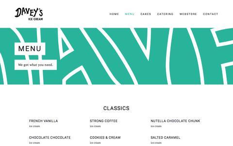 Screenshot of Menu Page daveysicecream.com - Menu — Davey's Ice Cream - captured June 4, 2017
