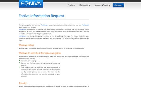 Screenshot of Privacy Page foniva.com - Contact Center Software - Call Center Software - Computer Telephony Integration - Foniva. - captured June 6, 2017