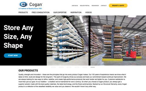 Screenshot of Home Page cogan.com - Cogan | Mezzanines, Cantilever Racking, & Storage Solutions - captured Jan. 18, 2019