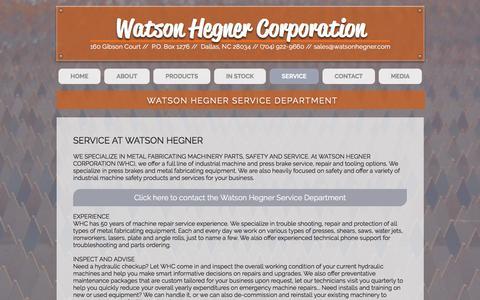 Screenshot of Services Page watsonhegner.com - watsonhegner   SERVICE - captured Dec. 17, 2016