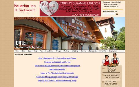 Screenshot of Press Page bavarianinn.com - News - captured Sept. 19, 2014