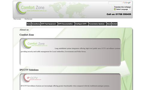Screenshot of About Page comfortzone-cctv.co.uk - Comfort Zone > About - captured Oct. 2, 2014