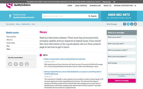 Screenshot of Press Page qualitysolicitors.com - News - QualitySolicitors - captured Oct. 10, 2014