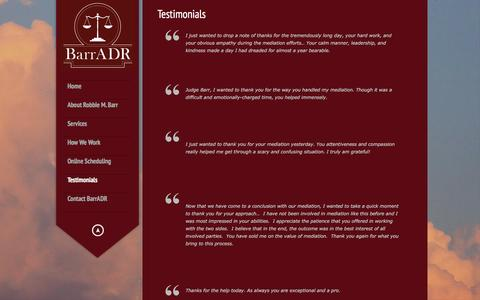 Screenshot of Testimonials Page barradr.com - Testimonials | BarrADR - captured Feb. 7, 2016
