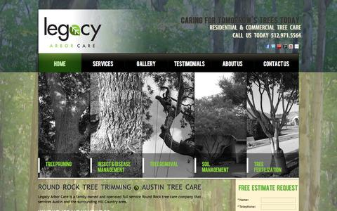 Screenshot of Home Page legacyarbor.com - Tree Trimming Round Rock | Tree Service Round Rock | Tree Care Austin - captured Oct. 2, 2014