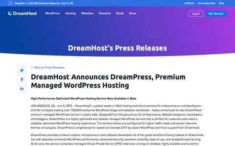 Screenshot of Press Page dreamhost.com - DreamHost Announces DreamPress, Premium Managed WordPress Hosting  – DreamHost - captured Feb. 21, 2020