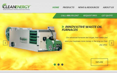 Screenshot of Home Page cleanenergyheatingsystems.com - Waste Oil Furnaces, Waste Oil Burners, Waste Oil Heaters - captured Oct. 7, 2018