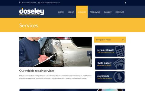 Screenshot of Services Page doseleymotors.co.uk - Services · Doseley Motors - Body and Paint Centre Telford - captured June 5, 2017