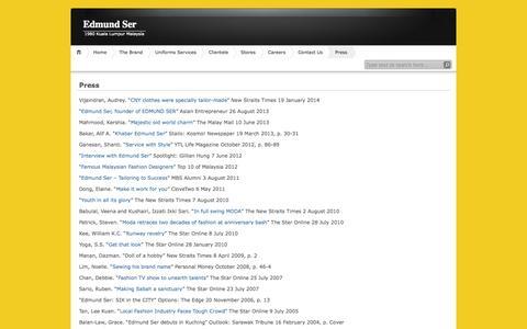 Screenshot of Press Page edmundser.com - Press | Edmund Ser - captured Sept. 29, 2014