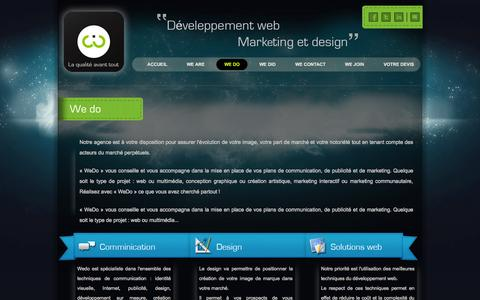 Screenshot of Menu Page wedo.tn - We Do | Wedo Agence Communication,design,creation site web Tunisie,développement web tunisie,agence com,agences communication,création site internet,conception site web,agence création site internet - captured Oct. 4, 2014