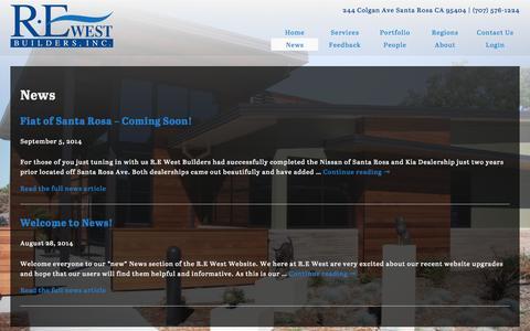 Screenshot of Press Page rewestbuilders.com - News | R·E West Builders - captured Sept. 30, 2014