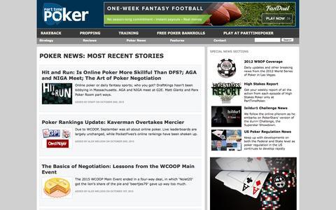 Screenshot of parttimepoker.com - Poker News - Legal, Industry and Tournament updates from PartTimePoker - captured Oct. 3, 2015