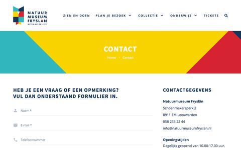 Screenshot of Contact Page natuurmuseumfryslan.nl - Contact - Natuurmuseum Fryslân - captured Sept. 20, 2018