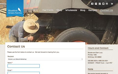Screenshot of Contact Page bluebirdgrainfarms.com - Contact Us | Bluebird Grain Farms - captured Jan. 6, 2016