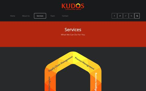 Screenshot of Services Page kudosconsultinggroup.com - Services - captured Oct. 16, 2018