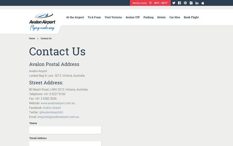 Screenshot of Contact Page avalonairport.com.au - Contact Avalon Airport | Avalon Airport - captured Sept. 30, 2014