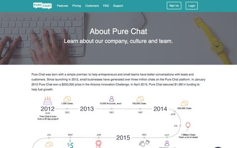 Screenshot of About Page purechat.com - Learn About Pure Chat - captured March 31, 2016