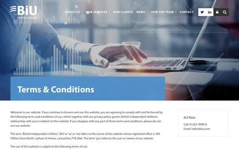 Screenshot of Terms Page biu.com - Terms & Conditions - BIU Utilities Solved - captured Oct. 11, 2017