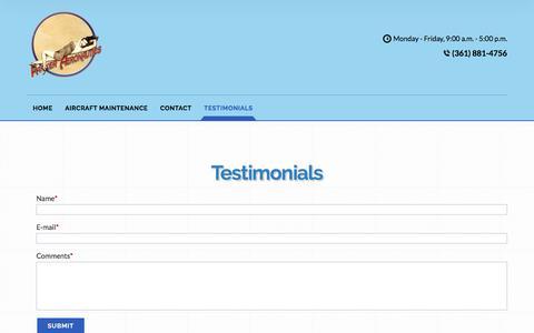 Screenshot of Testimonials Page parkeraeronautics.com - Testimonials - captured July 15, 2018