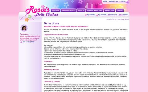 Screenshot of Terms Page rosiesdollsclothes.com.au - Terms and conditions of use for Rosie's Dolls Clothes shop and website - captured Oct. 30, 2014