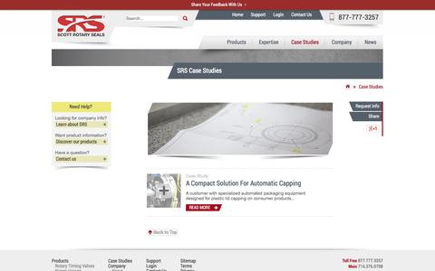 Screenshot of Case Studies Page scottrotaryseals.com - Case Studies - SRS - captured Oct. 10, 2014