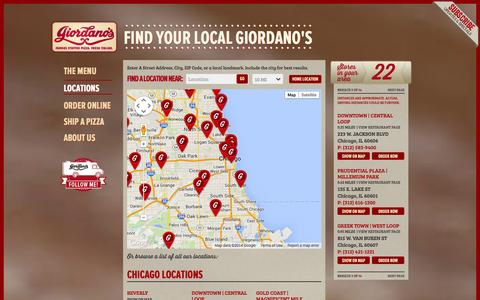 Screenshot of Locations Page giordanos.com - Locations - Giordano's Famous Chicago Pizza - captured Sept. 23, 2014