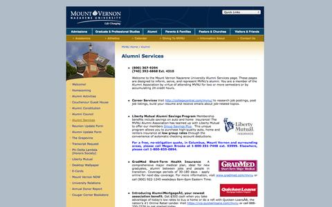 Screenshot of Services Page mvnu.edu - Mount Vernon Nazarene University - Alumni Services - captured Sept. 25, 2014