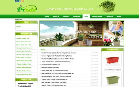 Screenshot of Press Page china-flower-pots.com - Henan Pride Garden Products Co.,Ltd. News list - captured Oct. 2, 2014