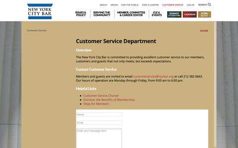 Screenshot of Support Page nycbar.org - Customer Service | NYC Bar - captured Sept. 28, 2018