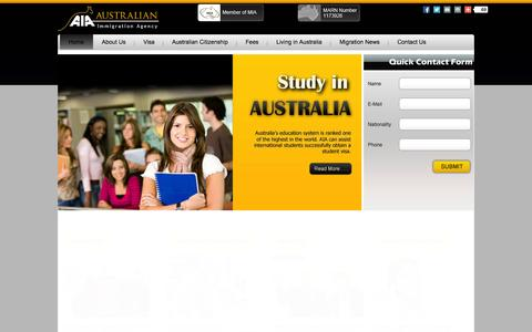 Screenshot of Home Page australianimmigrationagency.com - Australian Immigration Agency (AIA) - Migration Agent Australia Brisbane & Melbourne - Australian Visas - captured Oct. 4, 2014