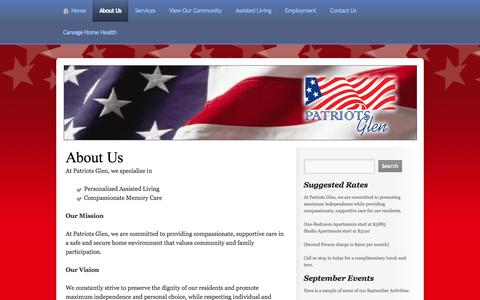 Screenshot of About Page patriotsglen.net - About Us « Assisted Living, Senior Living, Memory Care, Bellevue WA - captured Oct. 2, 2014