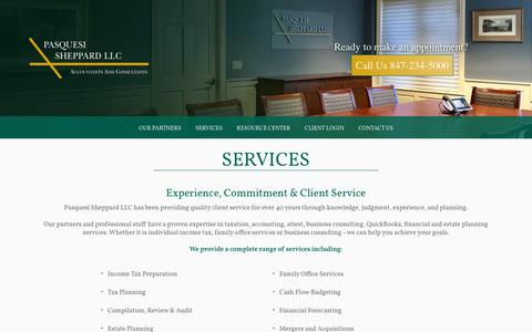 Screenshot of Services Page ps-cpa.com - Financial Services | Pasquesi Sheppard - captured Sept. 27, 2018