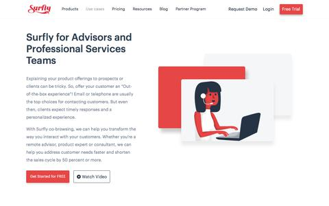 Screenshot of Case Studies Page surfly.com - Use Cases Remote Advisors - Surfly - captured Jan. 3, 2020