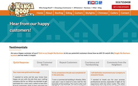 Screenshot of Testimonials Page brandstetterroofing.com - Testimonials | Cincinnati, OH | Brandstetter's Kanga Roof - captured Oct. 11, 2017