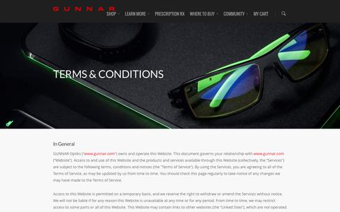 Screenshot of Terms Page gunnars.com - Terms & Conditions | GUNNAR Optiks - captured Jan. 15, 2016
